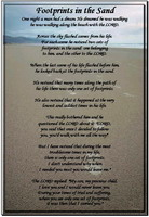 Footprints in the sand printable poem 5x7 card instant download.